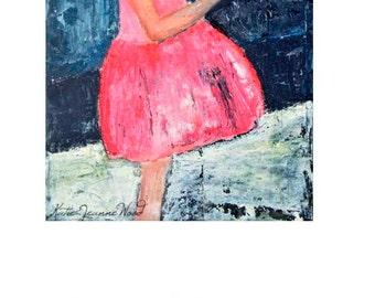 Girl Pink Party Dress & Dove Bird Figure Painting Print. Living Room Child's Room Wall Art Decor