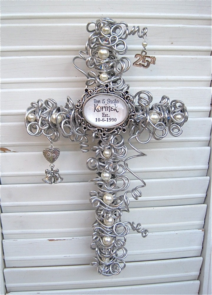 25th Wedding Gifts: 25th Anniversary Gift Cross Personalized Silver Anniversary