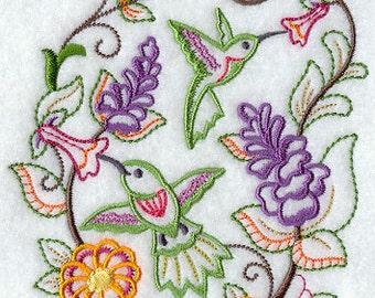 Hummingbird Embroidered Kitchen Tea Towel