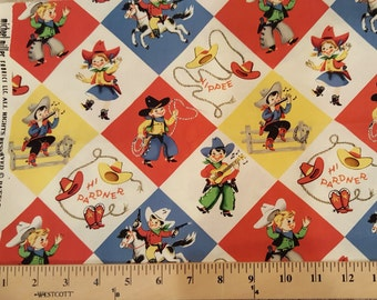 Fabric Michael Miller Cowboy YIPPEE RETRO