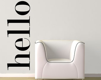 Hello Wall Decal - Hello Wall Quote Sticker - Hello Vinyl Decals - Hello Wall Art - Large Hello Decal