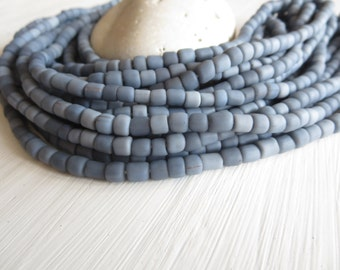 Grey glass seed beads, matte opaque Grey glass, small spacer organic barrel tube Modern Indo-pacific 4 to 6  mm - 22 inc strand  /  6a14-11