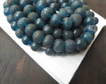 Blue  Round lampwork beads , Matte dark blue teal , gritty rustic aged look , indonesian  . 10 to 12mm  / 12 pcs 6a4-5