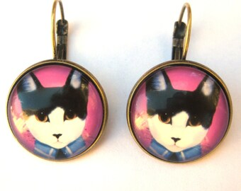 Cat Earrings Lever Back Glass Dome Earrings -  Tuxedo Cat Kitty