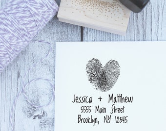 Fingerprint Wedding Stamp, Custom Wedding Stamp, Wedding Address Stamp, Wooden Stamp, Self Inking Stamp, Rubber Stamp, Heart