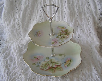 Vintage Cake Stand Tray ~ Floral Tiered Lefton To A Wild Rose ~ Dessert Snack
