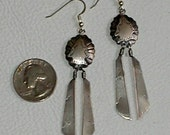 SOLD-Southwestern Style, Sterling Silver, Shield and Feather Dangle Earrings, Nicely Detailed, Vintage, 80's, Three Inches Long, Goddess