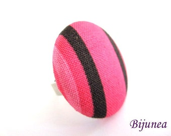 Pink stripes ring - Fabric ring - Pink fabric ring - Statement ring r934