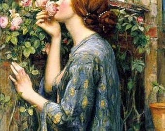 Waterhouse Soul Of Rose Reproduction Fabric Quilt Block Free Shipping World Wide