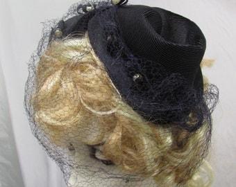 Vintage 1930's 1940's Hat Navy Blue Hat with Veil Chaplet Curvette with Pearl Embelishment the Original Fascinator