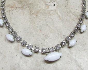 Vintage 1950's 1960's Rhinestone & Milk Glass Necklace Adjustable Choker ~ Wedding Jewelry