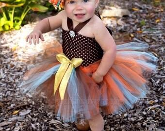 Fall Crochet Tutu Dress,Fall Photo Prop Baby Dress,Western Baby Tutu Dress,Thanksgiving Tutu and Hair Bow Set,Fall Infant Baby Tutu Dress