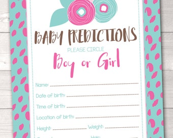 Instant Download Baby Shower Game Floral Baby Predictions Card in Pink and Blue Printable PDF