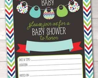 Baby Shower Invitation Instant Download Printable PDF Digital File Red Green Blue Bibs Bunting and Chevron Stripes Fill in the Blank Design