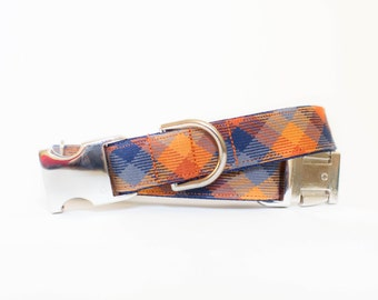 Pumpkin Patch Autumn Check Dog Collar