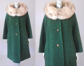 Woodland Cove boucle coat | vintage fox collar coat | vintage 60s  wool coat