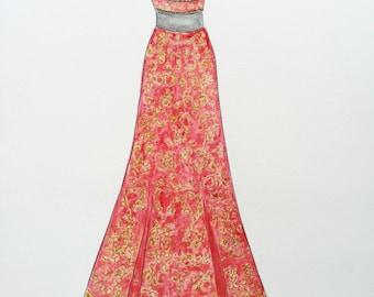 Custom sari drawing, original Indian wedding dress drawing, Indian costume original art, anniversary gift, sari sketch, Indian bride art