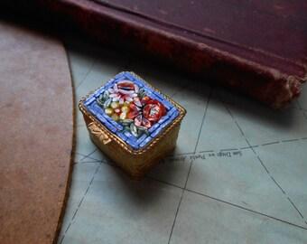 vintage blue floral micromosaic trinket box - italian vintage sixties kitsch