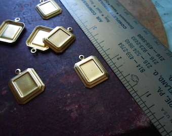 6 pcs square setting charms - vintage brass charms - use for settings or enamel work - old new stock
