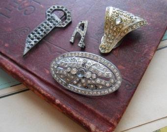 4 pc lot of vintage rhinestone jewelry - art deco antique vintage pieces - silver pot metal repair condition