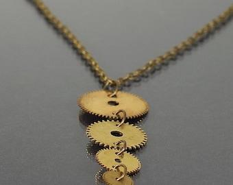 Steampunk Jewelry- Upcycled Brass Clock Gear Necklace, Steampunk Necklace, Steampunk Pendant, Brass Gear Jewelry by Tanith Rohe