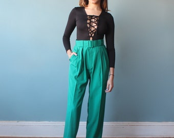green high waist pants / kelly green high waisted trousers / 1980s / small - medium