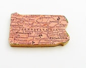 Pennsylvania Brooch - Lapel Pin / Unique Wearable History Gift Idea / Upcycled 1940s Straus Wood Puzzle Piece / Timeless Gift Under 25