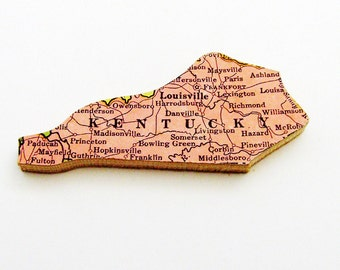 1940s Kentucky Brooch - Pin / Unique Wearable History Gift Idea / Upcycled Vintage Wood Jewelry / Timeless Gift Under 25