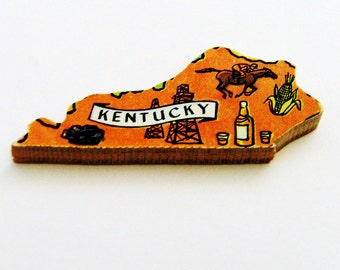 1960s Kentucky Brooch - Pin / Unique Wearable History Gift Idea / Upcycled Vintage Hand Cut Wood Jewelry / Timeless Gift Under 25