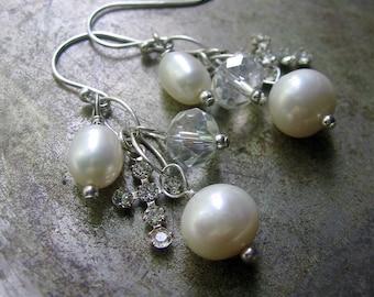 Long Charm Earrings, Pearl Swarovski Cross Earrings, Boho Earrings, June Birthstone