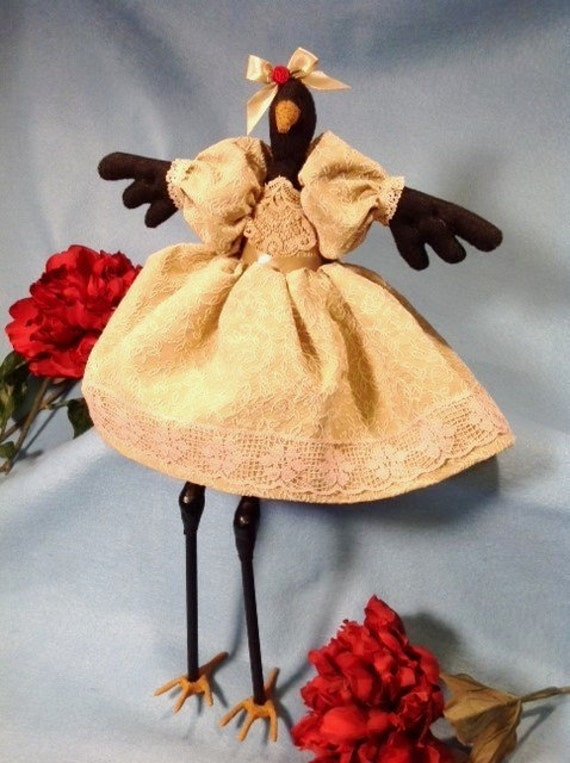OOAK Collectible Handmade Cloth Doll Fancy Dressed Girl Crow