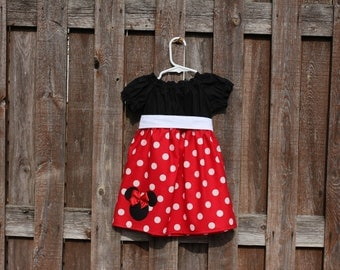 Red Minnie Mouse Dress,  Disney Mickey Minnie Mouse Peasant Dress, Red Minnie Mouse Birthday Dress