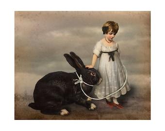 Rabbit Print Digital Art Black Gray Surreal Home Decor Bunny Hare Pet