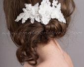 Bridal Lace Hair Comb, Wedding Headpiece, Ivory Lace Bridal Hair Piece - Trina