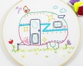 Retro Travel Camper Summer Roadtrip Hand Embroidery PDF Pattern