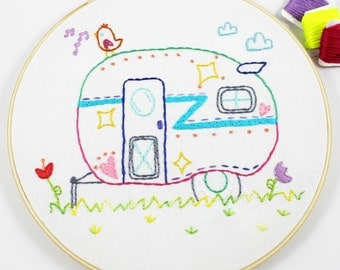 Airstream Camper Summer Travel Road Trip Hand Embroidery PDF Pattern