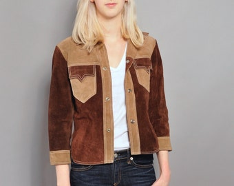 Vintage Cropped Suede Jacket // Two-tone Brown & Tan Suede // S M