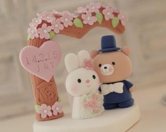 rabbit and bear wedding cake topper---k956