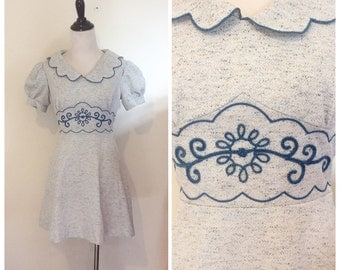 60s Blue Polyester Fit and Flare Peter Pan Collar Dress / 1960s Vintage Mod Embroidered Scalloped Collar Puff Sleeve Mini Dress / Small