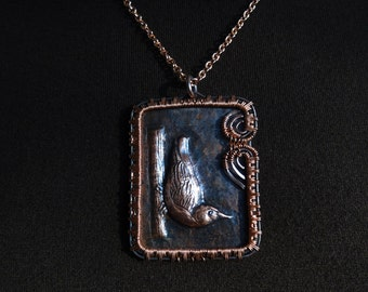 Nuthatch Copper Repousse Fine Art Wire Wrapped Pendant Necklace OOAK Bird Hammered