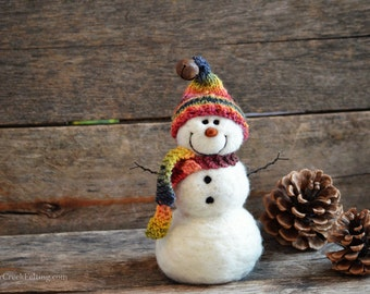 Snowman - handmade - needle felted- one of a kind -  726