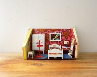 vintage 70s Hogarin Dollhouse Furniture Set Dormitorio Bedroom Groovy NIP Made In Spain