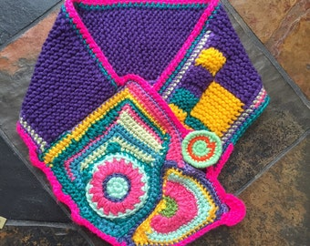 Crochet  free form statement neck warmer bright and colorful