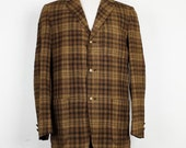 Vintage Pendleton Brown Wool Plaid 3 Pocket Jacket Mens S