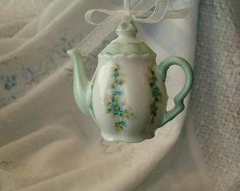 Tea Pot China Ornament, blue