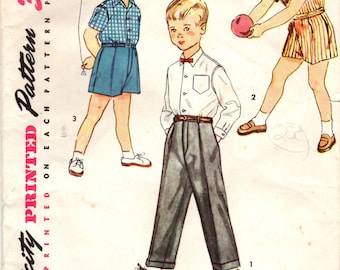 1950s Simplicity 4166 Vintage Sewing Pattern Boys Shirt, Shorts, Trousers Size 2, Size 3, Size 6