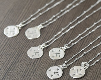 Bridesmaid gifts bridal jewelry bridal jewelry wedding jewelry Travel necklace Compass necklace (6 necklaces)