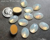 Vintage Cabochons - 10x14 mm White Opal - 6 West German Faceted Glass Stones