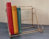 vintage book rack - brass table top book shelf