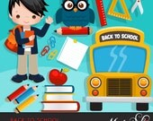 Back to school Clipart. Cute students, school bus, school supplies, apple, owl, stack of books, backpack, african american student graphics